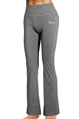 Junlan High Waist Tummy Control Shapewear Women Power Yoga Pants Workout Running Stretch Leggings (XXL, Grey) - Power Stretch Bootcut Pant