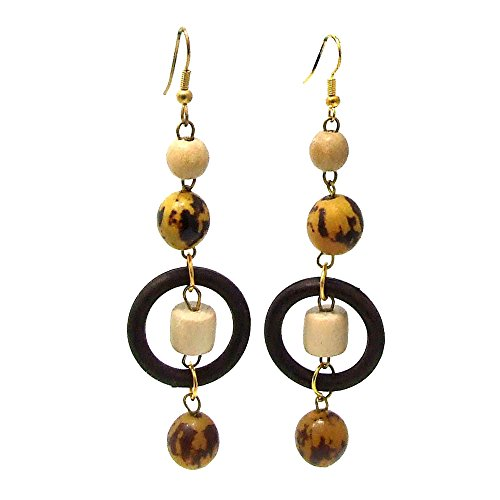 Philippines Earthly Origins Native Wood and Brass Handmade Earrings