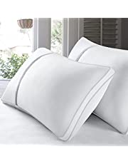 BedStory 2 Pack Sleeping Pillows, King Size Pillow Down Alternative Dust Mite Resistant & Hypoallergenic Hotel Bed Pillow for Neck/Shoulder Pain Back/Stomach/Side Sleepers (Non-Removable Cover, King)