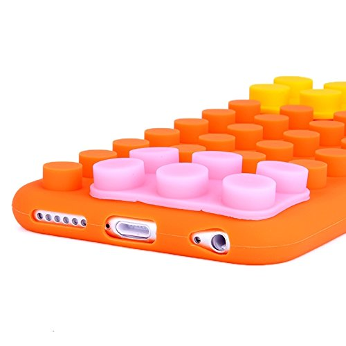 Protege tu iPhone, Caja de silicona de textura de bloque para iPhone 6 Plus & 6SPlus Para el teléfono celular de Iphone. ( Color : Naranja ) Naranja