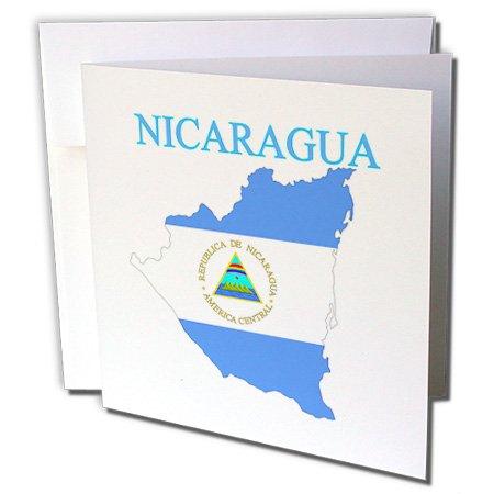 Imagen de 3dRose de mapa de Nicaragua en colores de la bandera con nombre del País–Tarjetas de felicitación, 6' x 6',...