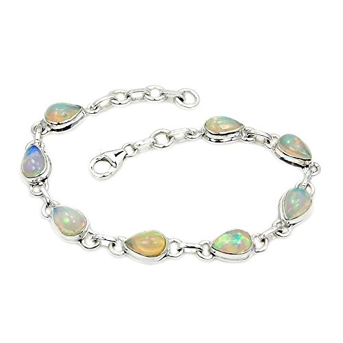 Sterling Silver Rare Natural Ethiopian Opal Bracelet, Adjustable from 7.25