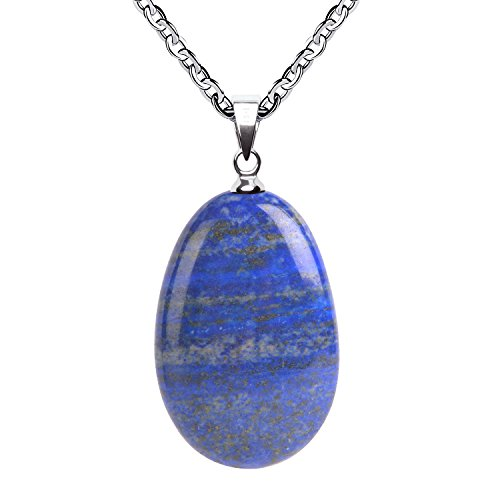 iSTONE Natural Gemstone Natural Lapis Lazuli Water Drop Pendant Necklace with Stainless Steel Chain 20 (Lapis Pendant Necklace)