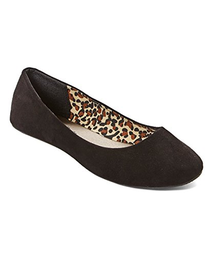 Charles Albert Womens Basic Open Toe Balletto Flat Slip On Shoe Nero 2