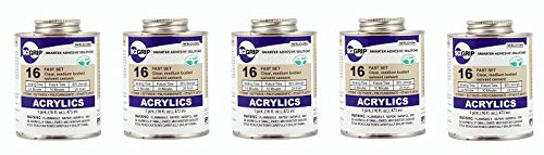 SCIGRIP 16 Acrylic Cement, Low-VOC, Medium Bodied, 1 Pint Can with Screw-on Cap, Clear (5-(Pack))