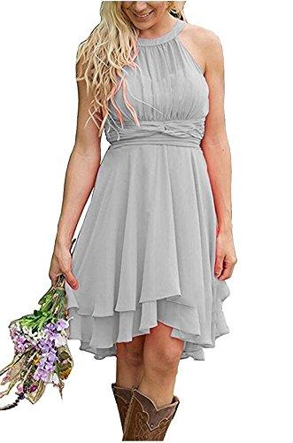 Short Hot Halter Gown Silver Bridesmaid Beauty Wedding Sleeveless Pink Chiffon Dresses Party AK Neck 5XqSOwc66