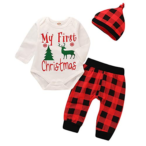 Newborn Boy Clothes Christmas Fall Outfits Babys First Christmas Long Sleeve White Romper Top with Green Christmas Tree and Deer Pattern + Red Plaid Long Pants + Red Plaid Hat 3pcs Set6-12 months