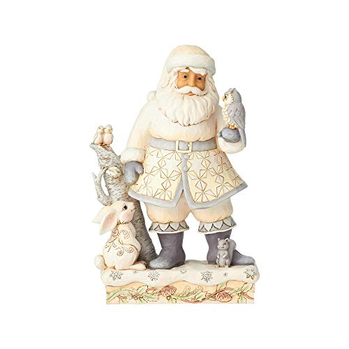 Enesco Jim Shore Heartwood Creek White Woodland Santa with Owl Figurine, 10