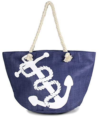 MIRMARU Women's Large Beach Bag Top Zipper Closure Tote with Braided Rope Handles and Inner Pocket (Big -