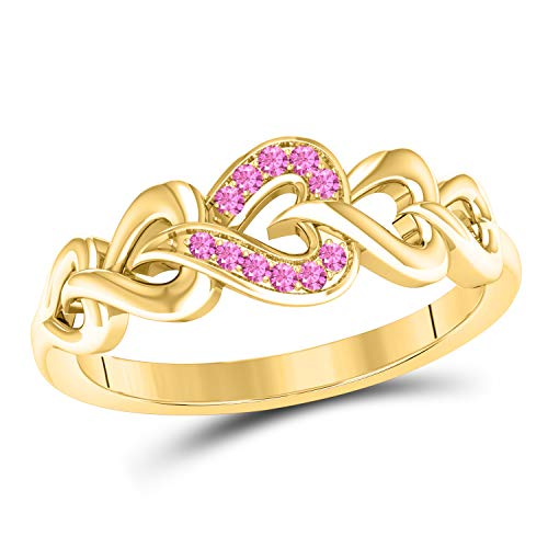 (Jewelryhub Heart Infinity Style Lab Created Pink Sapphire Round Cut 14k Yellow Gold Plated Sterling Silver Anniversary Wedding Band Ring for Women's)