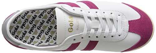Gola Dames Kogel Suède Mode Sneaker Wit / Warm Fuchsia