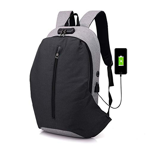 Antirrobo Laptop Impermeable Bloqueo Escuela Mochila Smart Viajes Media Capacidad Doblar Zhrqinss Bolsa Poliéster 1 Lona Contraseña Gran Xw4Tq6R5