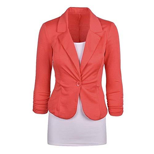 Ufficio Giacche Giacca Con Primaverile Lunga Tailleur Arancia Women Camicia Button Manica Blazer Monocromo Sottile Giovane Bavero Autunno Da Donna Business rngw8rOqxv