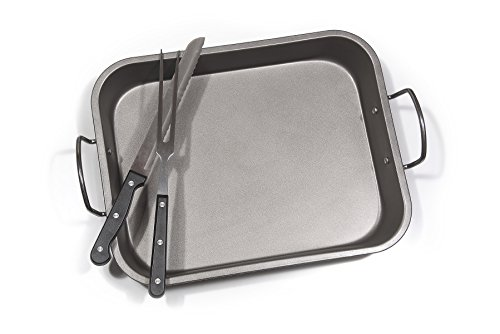 Fox Home Roasting Pan Set , Non-Stick, Carbon Steel Baking Dish With Bonus Serrated Meat Knife, Stainless Steel Fork by FOX HOME (Image #3)'