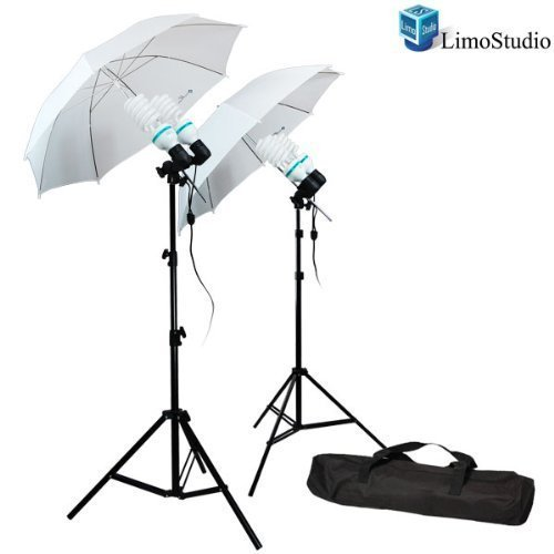 LimoStudio 1200 Watt Photography Video Photo Portrait Studio Umbrella Continuous Lighting Kit with [4x] 85 Watt Daylight CFL Bulb 5500K and Umbrellas, Case for Product, Portrait and Video Shoot, AGG336 by LimoStudio