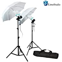 LimoStudio 1200 Watt Photography Video Photo Portrait Studio Umbrella Continuous Lighting Kit with [4x] 85 Watt Daylight CFL Bulb 5500K and Umbrellas, Case for Product, Portrait and Video Shoot, AGG336