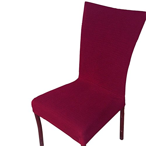 Uleade™ Stripe Weave Stretch Removable Dining Room Chair Protector Slipcovers ,Wine Red 4 (Indoor Chaise Chair Cover)