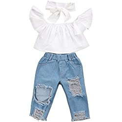 CaNIS 3pcs Baby Girls Kids Off Shoulder Lotus Leaf Top Holes Denim Jeans Headband Outfits Set (3-4Y, White)