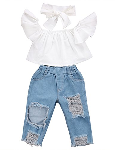 3pcs Baby Girls Kids Off Shoulder Lotus Leaf Top Holes Denim Jeans Headband Outfits Set (1-2Y, White)]()