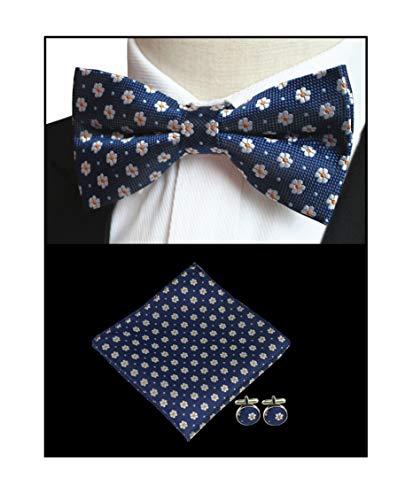 Big Boys Kids Mens Bow Ties Navy Blue Novelty Floral Bowties Hanky Cufflinks Set