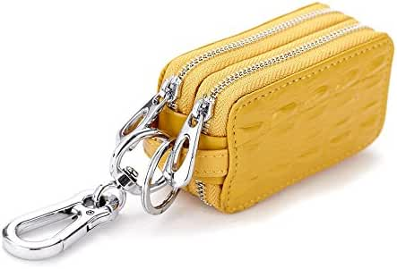 Wismart Genuine Leather Car key Chain bag Metal Hook Zipper Wallet Bag