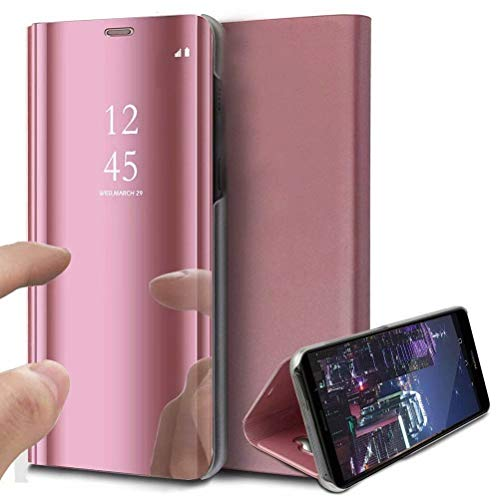 DOHUI for Xiaomi Mi Mix 3 Case, Ultra Slim Clear View Standing Cover Flip Case Mirror Plating Holder for Xiaomi Mi Mix 3 (Rosegold)