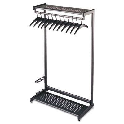 Single-Sided Rack w/Two Shelves, 12 Hangers, Steel, 36