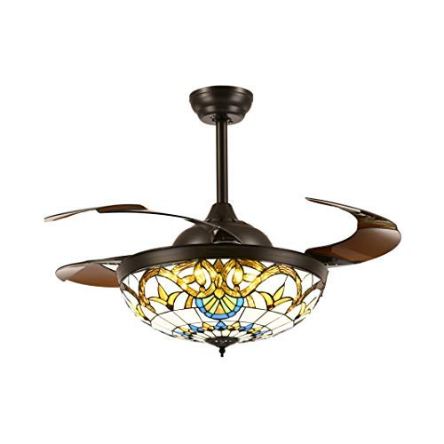 Retractable Ceiling Fans with Remote and Lights Mediterranean Style Chandelier Invisible Brown Blades Fandelier Brightness Dimmable LED Stepless Adjustable Warm Daylight Cool White 42 Inches