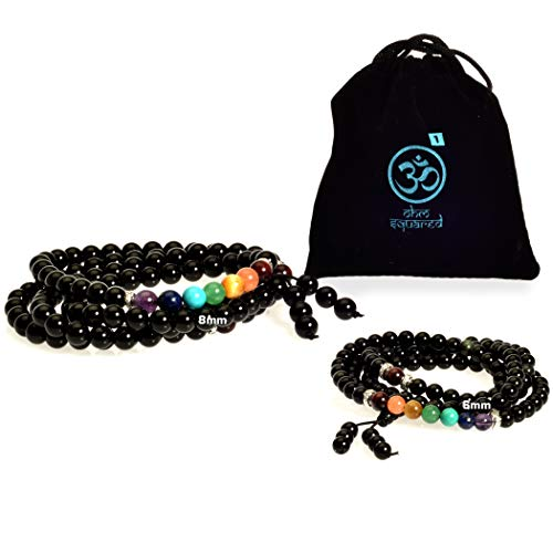 - Mala Beads Gemstone Obsidian Chakra Healing Bracelet Necklace for Meditation