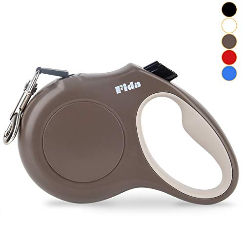 Fida Retractable Dog Leash X-Small Breed, 10 ft Durable Pet Walking Leash for Extra Small Dogs/Cats/Small Animals up to 18lbs, 360° Tangle Free, Coffee/Brown