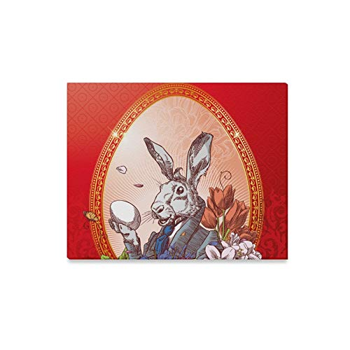 (ENEVOTX Wall Art Painting Vintage Easter Postcard with Rabbit with Little C Prints On Canvas The Picture Landscape Pictures Oil for Home Modern Decoration Print Decor for Living Room)