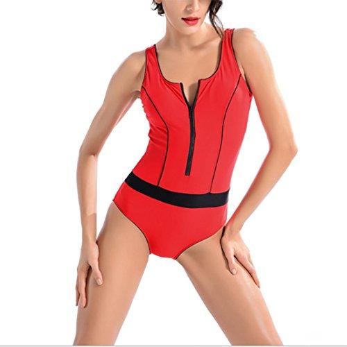 HXQ Mujeres Atlético Una pieza Trajes de baño Escotado por detrás Cremallera Bikini Red
