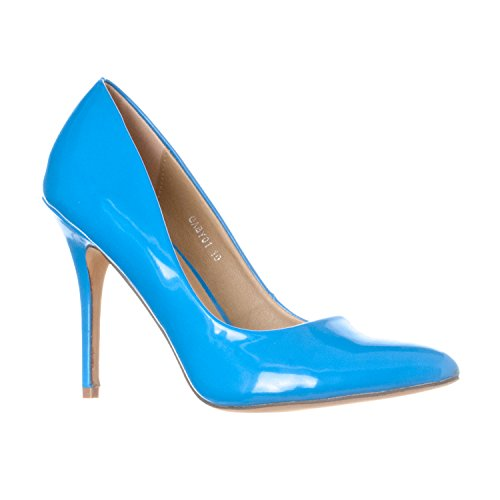 aby Pointed Closed Toe Stiletto Pump Heels, Blue Patent, 9 (Blue Patent Pointed Toe Heels)
