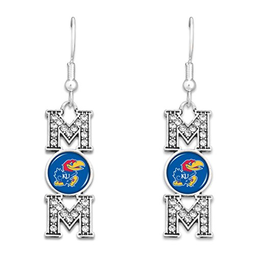 FTH Kansas Jayhawks MOM Earrings with Logo and Rhinestones