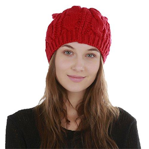 Femme Chaud Tresser Tricoté Oreille Chat Bonnet Rouge Chapeau Acvip dZ0xqwOd
