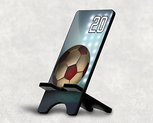 Cell Phone Stand Soccer Ball #14200 Personalized Player Jersey Number On A Universal Docking Charging Station Stand Customized by TYD Designs Number 20