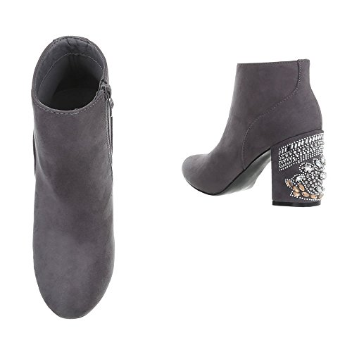 Ital-Design Zapatos para mujer Botas Mini tacón Botines clásicos Gris V-1-1