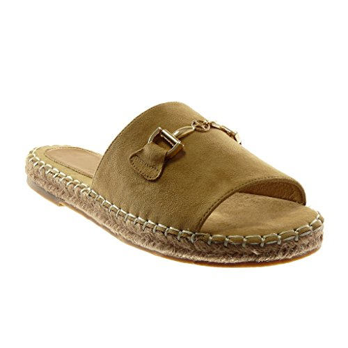 Angkorly Damen Schuhe Sandalen Mule - Slip-On - Schmuck - Kette - Golden Blockabsatz 2.5 cm Camel