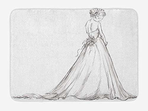 (Weeosazg Bridal Bath Mat, Fairytale Ending of a Love Story Princess Sketchy Bride with Flowers Image, Plush Bathroom Decor Mat with Non Slip Backing, 31.5 X 19.7 Inches, Black and White)