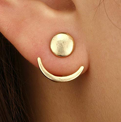 Tomikko 1 Pair Lady Geometric Half Round Triangle Earrings Punk Ear Hoop Jewelry Gift | Model ERRNGS - 7681 |