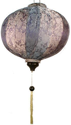 Terrapin Trading Ltd Lampe Artisanale VIETNAMIENNE Orientale Soie /& Bambou Lampe Chinois Argent 20 L