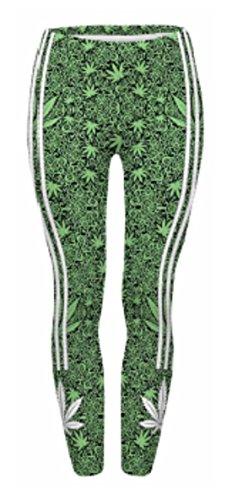 Soft Printed Pattern Womens Leggings (Marijuana) ()