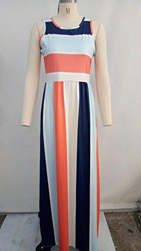 Rond Robe t Maxi sans Manche Col de Robes de Femmes Robe Soire Plage Rouge Raye orange Fte Fashion wIIAxqB