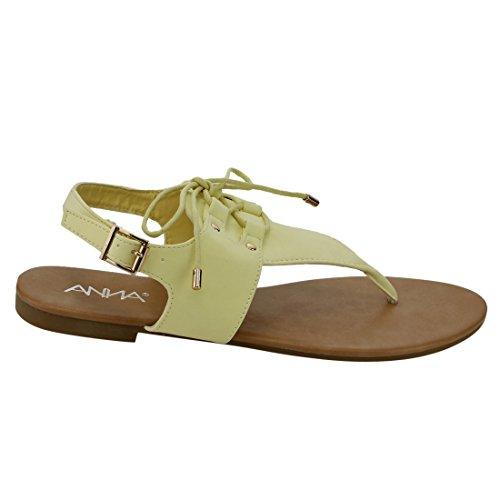 Anna Ie03 Sandalo Flat Con Perizoma Stringato Con Cinturino A Tanga Per Donna