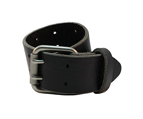 Alex Full Grain 1.5 Inch Wide Handcut Belt Made in USA with Textured Roller Syle Double Prong Buckle