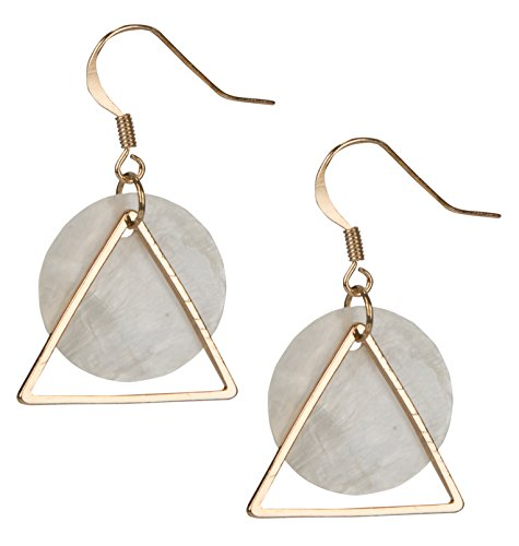 Shell Earrings Triangle Circle for Women | SPUNKYsoul Collection (Gold) ()
