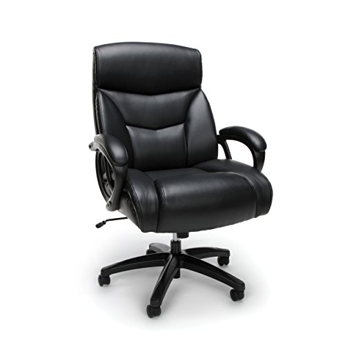 Essentials Big and Tall Leather Executive Chair - High-Back Computer/Office Chair, Black (ESS-6040-BLK)