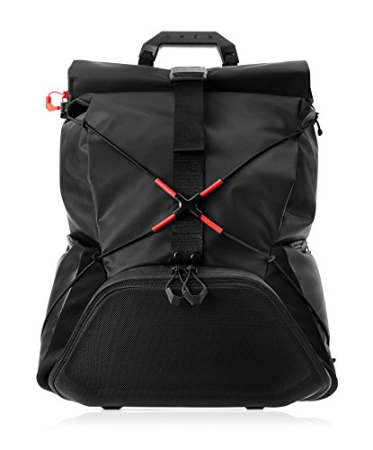 OMEN X by HP Transceptor Roll-Top Gaming Backpack - Black/Red -Adjustable Chest...