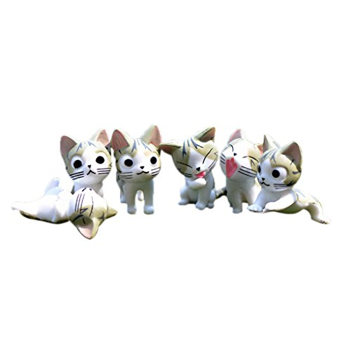 Dovewill 6 piece Cats Miniature Decor Fairy Garden Bonsai Pot DIY Craft Cheese Cat Figurine 2 Colors - Grey
