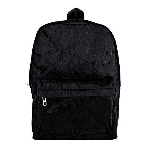 Van Caro Velvet Backpack Schoolbag Travel Rucksack Large Capacity for Women Girls (Black)